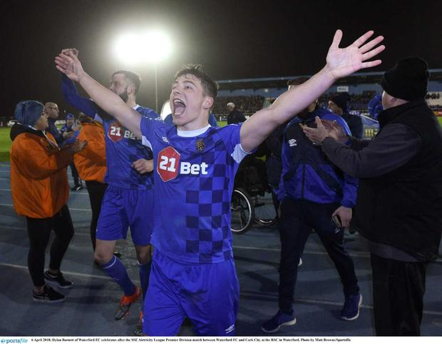 Dylan Barnett of Waterford FC celebrates after the SSE Airtricity League Premier Division match between Waterford FC and Cork City at the RSC in Waterford. Photo by Matt Browne/Sportsfile