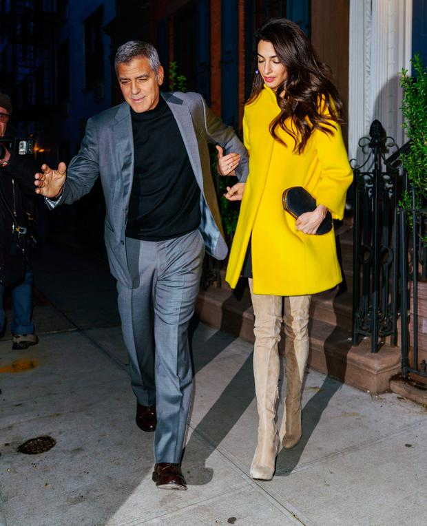 George Clooney and Amal Clooney go for dinner on April 6, 2018 in New York City. (Photo by Gotham/GC Images)