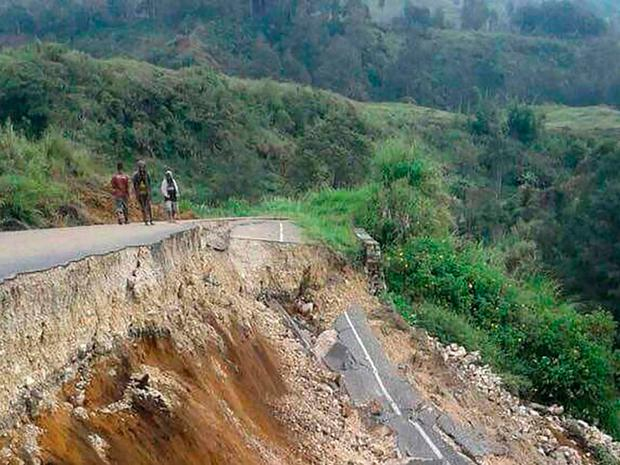 Damage to a road in Papua New Guinea after a 7.5 quake in February (Getty)