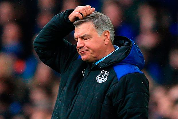 Everton manager Sam Allardyce appears dejected during the Premier League match at Goodison Park, Liverpool. PRESS ASSOCIATION Photo. Picture date: Saturday April 7, 2018. Photo credit should read: Peter Byrne/PA Wire.