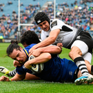 7 April 2018; James Lowe of Leinster scores his side's first try despite the tackle of Jacopo Sarto, left, and Gabriele Di Giulio of Zebre during the Guinness PRO14 Round 19 match between Leinster and Zebre at the RDS Arena in Dublin. Photo by Ramsey Cardy/Sportsfile