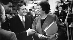 Former minister for education Mary O'Rourke chatting to Bertie Ahern in the early 1990s