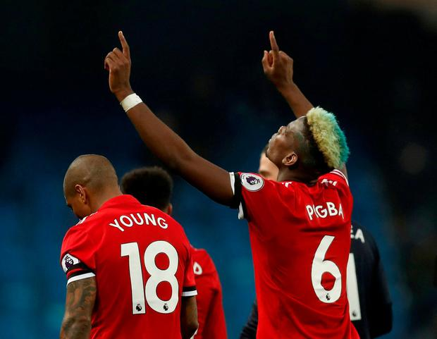 Manchester United's Paul Pogba celebrates after the match. Photo: Russell Cheyne/Reuters