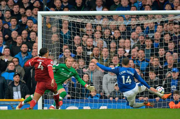 Everton's Cenk Tosun misses a chance to score. Photo: Peter Powell/Reuters