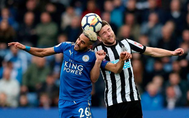 Leicester City's Riyad Mahrez in action with Newcastle United's Paul Dummett. Photo: Peter Cziborra/Action Images via Reuters