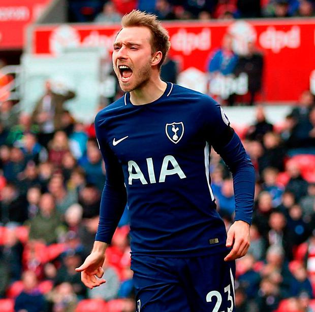 Tottenham Hotspur's Christian Eriksen celebrates scoring his side's first goal of the game. Photo: Nigel French/PA Wire