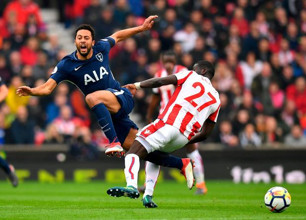 Tottenham's Mousa Dembele in action with Stoke City's Papa Ndiaye. Photo: Dylan Martinez/Reuters