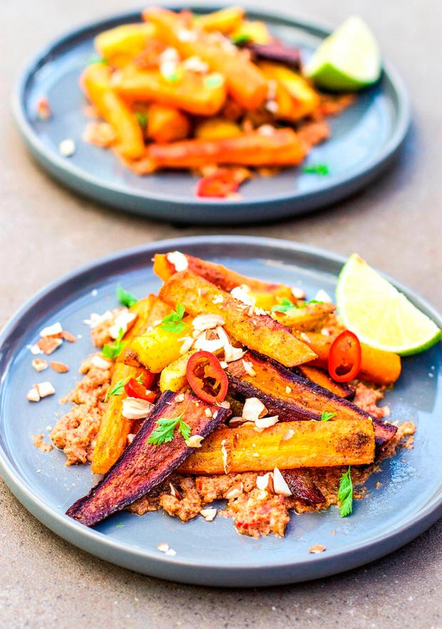 Roasted carrots with almond butter lime