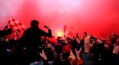 The scenes at Anfield on Wednesday night. Photo: Peter Byrne/PA Wire