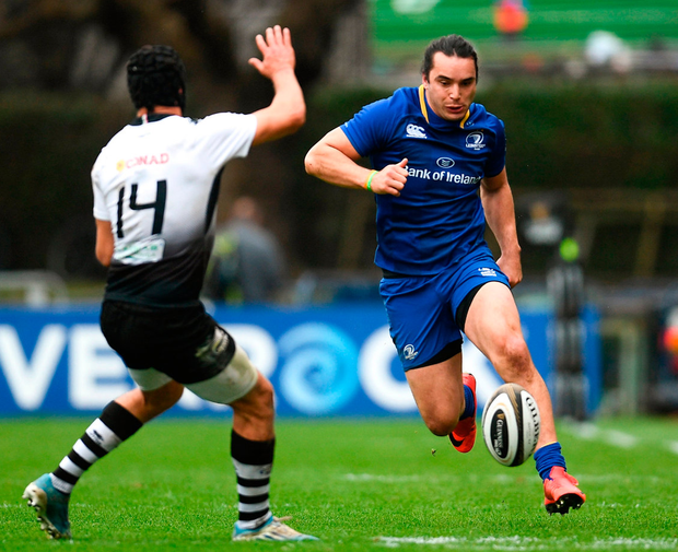 Leinster's James guides the ball past Gabriele Di Giulio of Zebre. Photo: Sportsfile