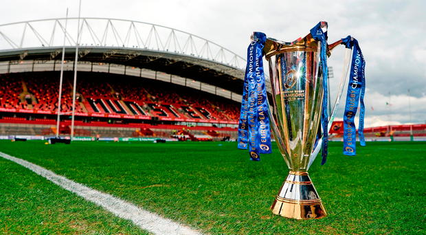 The Champions Cup trophy on the Thomond Park pitch prior to the European Rugby Champions Cup quarter-final between Munster and Toulon. Photo: Diarmuid Greene/Sportsfile