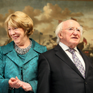 High office: President Higgins and his wife Sabina at Aras An Uachtarain. Photo: Steve Humphreys