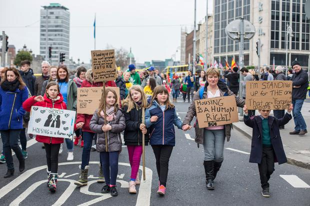 Thousands, including many families, took to the streets to protest at the homeless crisis, with over 10,000 people now living in emergency accommodation. Photo: Mark Condren