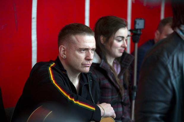Damien Dempsey sang at the demonstration in Dublin city centre. Photo: Mark Condren