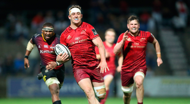 7 April 2018; Dan Goggin of Munster on his way to scoring his side's fourth try during the Guinness PRO14 Round 19 match between Southern Kings and Munster at Outeniqua Park in George, South Africa. Photo by Luke Walker/Sportsfile