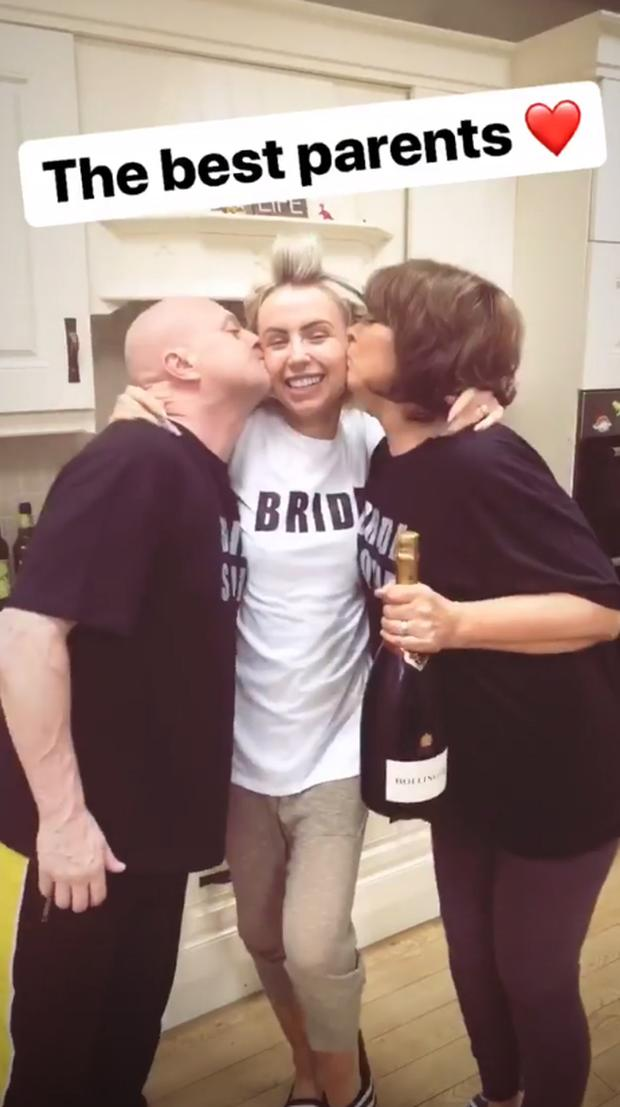 Rosie Connolly with her parents before her hen party. Picture: Instagram