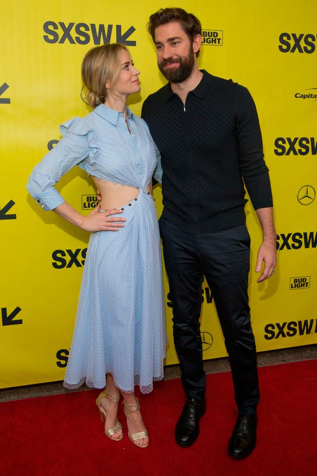 Emily Blunt and John Kransinski attend the 'A Quiet Place' premiere during 2018 SXSW Conference and Festivals at the Paramount Theater on March 9, 2018 in Austin, Texas. / AFP PHOTO / SUZANNE CORDEIRO