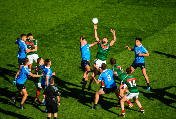 17 September 2017; Aidan O'Shea of Mayo in action against James McCarthy of Dublin during the GAA Football All-Ireland Senior Championship Final match between Dublin and Mayo at Croke Park in Dublin. Photo by Daire Brennan/Sportsfile