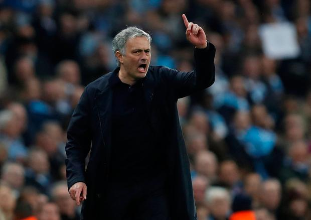 Soccer Football - Premier League - Manchester City vs Manchester United - Etihad Stadium, Manchester, Britain - April 7, 2018 Manchester United manager Jose Mourinho REUTERS/Russell Cheyne