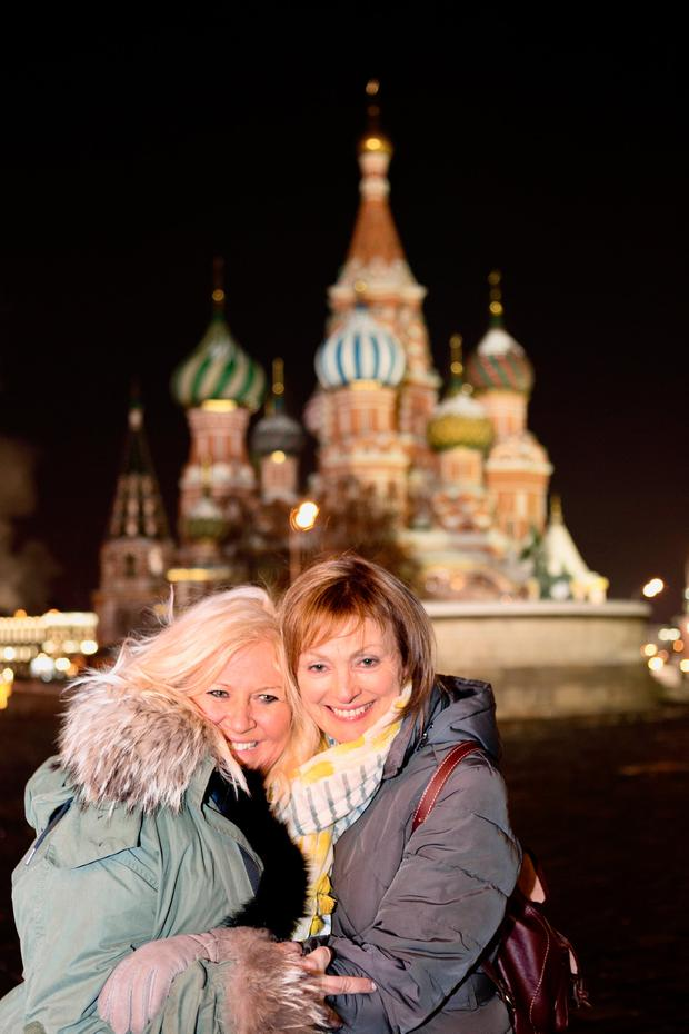 Debbie Deegan and RTE broadcaster Mary Kennedy at St Basil's Cathedral, Moscow