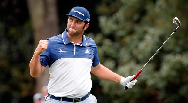 Jon Rahm of Spain celebrates an eagle on the 8th hole during third round play of the 2018 Masters golf tournament at Augusta. Photo: Reuters