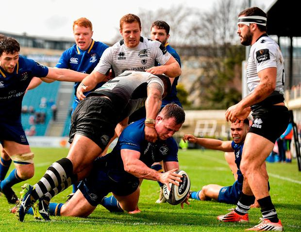 Leinster's Bryan Byrne scores his side's sixth try. Photo: Sam Barnes/Sportsfile