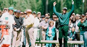 Payne Stewart throws his hands up to the heavens during the Par 3 contest at Augusta. Photo: Getty Images