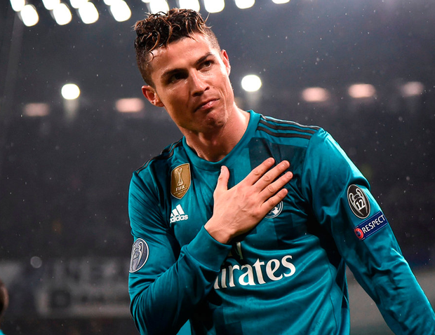 Cristiano Ronaldo celebrates his second goal of the night. Photo: AFP/Getty Images
