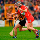 Cork's Aileen Sheehan and Anne Dalton of Kilkenny collide during the Littlewoods Ireland Camogie League Division 1 final in Nowlan Park. Photo: Sportsfile