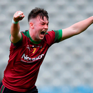 St Ronan's College captain Jamie Haughey celebrates. Photo: Sportsfile