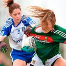 Sarah Rowe of Mayo tries to get away from Monaghan's Rachel McKenna in their Lidl Ladies National Football League clash in Swinford. Photo: Eóin Noonan/Sportsfile
