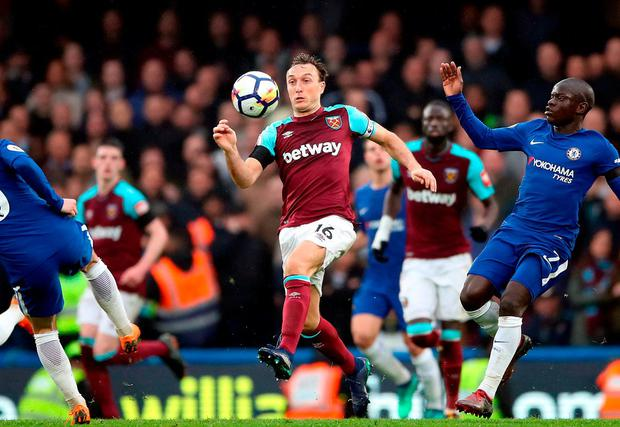 West Ham United's Mark Noble and Chelsea's N'Golo Kante battle for the ball. Photo: Nick Potts/PA Wire