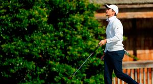 Rory McIlroy cuts a frustrated figure during his final round at Augusta. Photo: AP
