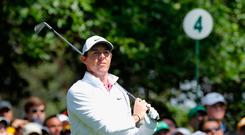 Rory McIlroy of Northern Ireland watches his tee shot on the 4th hole during final round play of the 2018 Masters golf tournament at the Augusta National Golf Club in Augusta, Georgia, U.S. April 8, 2018. REUTERS/Mike Segar