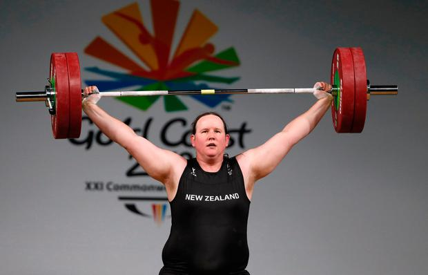 Weightlifting - Gold Coast 2018 Commonwealth Games - Women's +90kg - Final - Carrara Sports Arena 1 - Gold Coast, Australia - April 9, 2018. Laurel Hubbard of New Zealand competes. REUTERS/Paul Childs