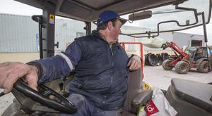 Maurice Sampson queues for the first shipment of fodder arriving in Buttevant County Cork for farmers. Pic:Mark Condren.