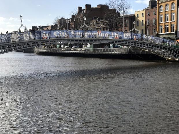 Banners placed on the Ha'penny Bridge celebrating Dublin GAA have been branded cheap and tacky Pic Collins Photos