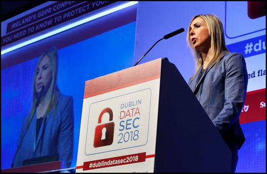 Helen Dixon Data Protection Commissioner for Ireland speaking at Dublin DataSec 2018 at the RDS. Pic Steve Humphreys