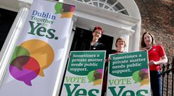 The official Together For Yes poster campaign for the upcoming referendum. The campaigns three Co-Directors, from left, Ailbhe Smyth, Orla O'Connor and Grainne Griffin at the launch of their poster campaign in Dublin. Pic Maxwells