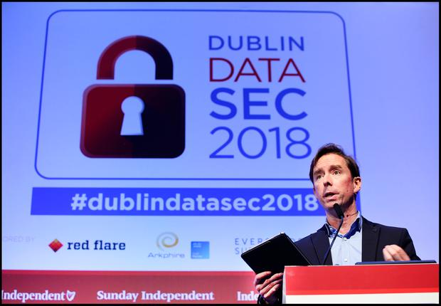 Adrian Weckler, Technology Editor INM speaking at the Dublin DATA SEC 2018 at the RDS. Pic Steve Humphreys