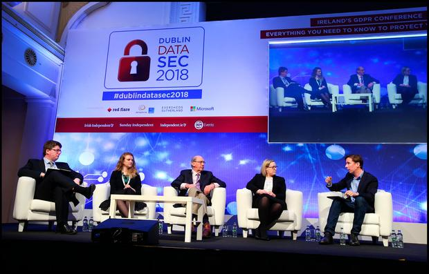Daragh O'Brien CEO Castlebridge, Joanne Neary Asst Commissioner Data Protection Office, Dr.Dennis Jennings Chair GDPR Awareness Coalition and Marie McGinley Partner Eversheds Sutherland chatting with Adrian Weckler Technology Editor INM at the Dublin DataSec 2018 at the RDS. Pic Steve Humphreys