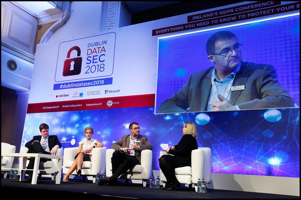 Daragh O'Brien CEO Castlebridge, Emerald de Leeuw, founder of Eurocomply, Brian Honan CEO BH Consulting and Marie McGinley Partner Eversheds Sutherland at the Dublin DataSec 2018 at the RDS. Pic Steve Humphreys