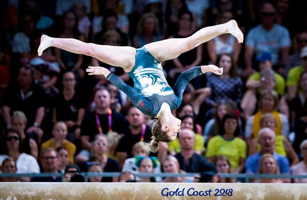 England's Alice Kinsella on her way to Gold during the Women's Balance Beam at the Coomera Indoor Sports Centre during day five of the 2018 Commonwealth Games in the Gold Coast, Australia.