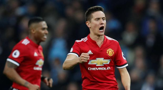 Manchester United's Ander Herrera celebrates after the match
