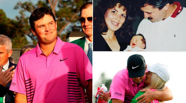 (Left) Patrick Reed celebrates Masters victory, (top right) a baby Patrick with his parents and (bottom right) Reed with his wife Justine