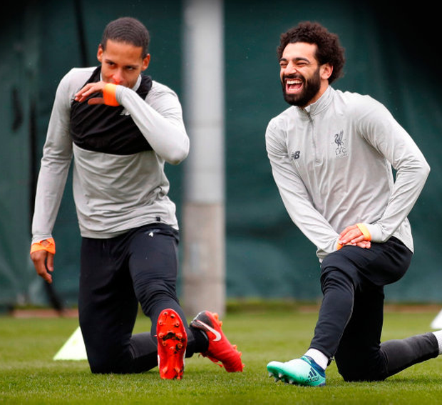 GAME FOR A LAUGH: (l-r) Virgil van Dijk and Mohamed Salah are pictured in training ahead of tonight's Champions League quarter-final second leg clash with Manchester City. Photo: Reuters
