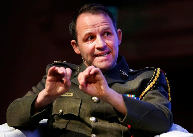 Lt Col Richard Brennan, barrister at law for the Defence Forces Legal Service, speaking at the conference. Photo: Steve Humphreys