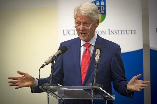 Bill Clinton delivers his keynote address marking the 20th anniversary of the signing of the Good Friday Agreement at the UCD O'Brien Centre for Science at UCD in Dublin. Pic: Arthur Carron