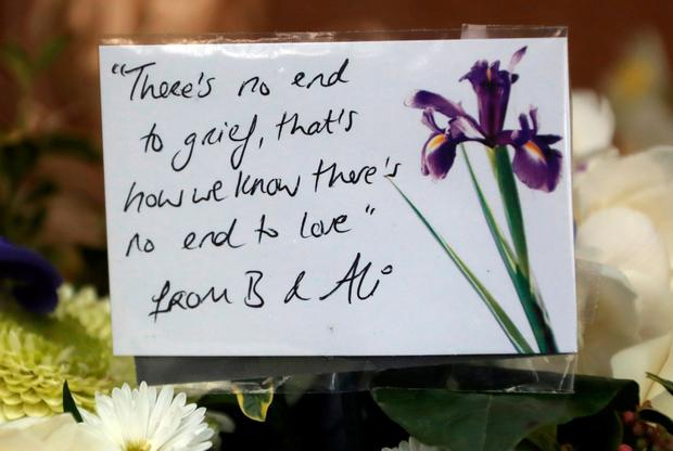 A message from Bono and his wife Ali at the funeral of music promoter, Dave Kavanagh at St. Mary's Church, Haddington Road, Dublin. Photo: Colin Keegan, Collins Dublin