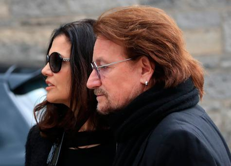Bono and wife Ali at the funeral of Dave Kavanagh. Photo: Colin Keegan, Collins Dublin.